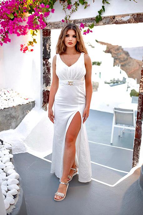 Honey biała maxi sukienka na poprawiny Illuminate
