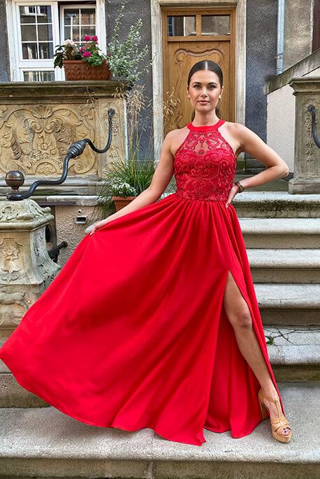 Olivia czerwona wieczorowa sukienka Illuminate