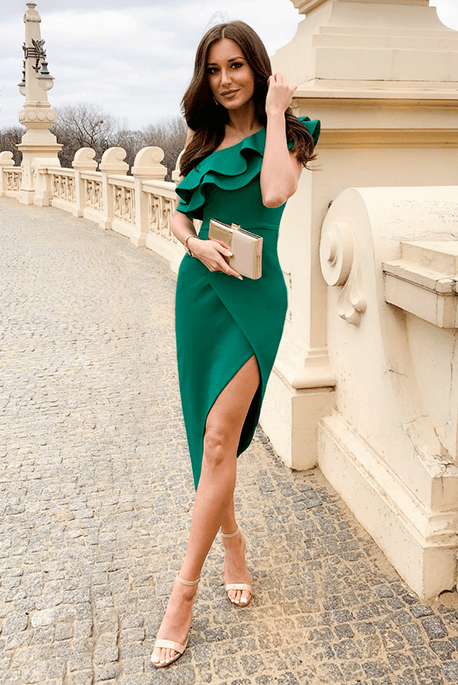 Agnes butelkowa zieleń asymetryczna sukienka