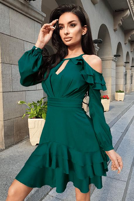 Anastazja butelkowa zieleń sukienka na święta