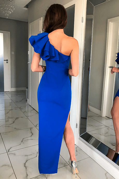 Ashley kobaltowa sukienka z falbaną