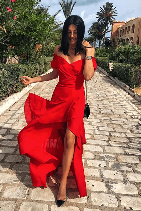Carla czerwona zwiewna sukienka na wesele