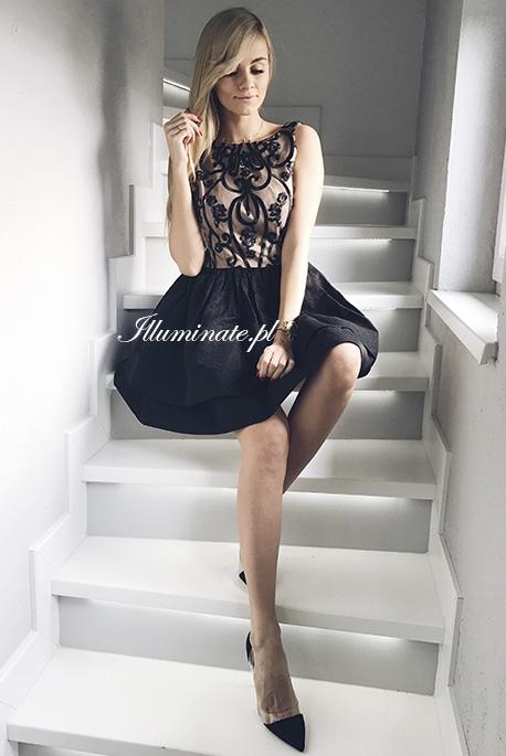 Charis czarna sukienka z cielista podszewka