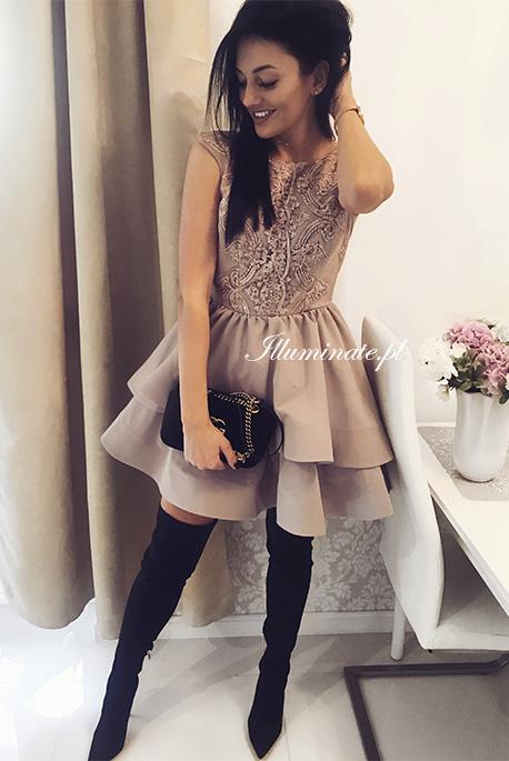 Claire sukienka na wesele rozkloszowana gipiura