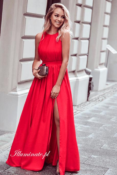 Ellie czerwona długa sukienka