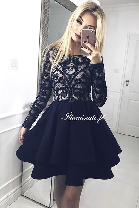 Gia krotka granatowa sukienka