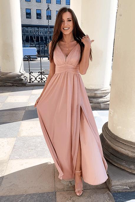 Gloria długa sukienka nude na wesele
