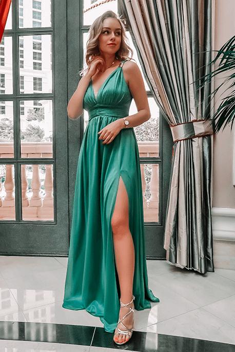 Gloria butelkowa zieleń sukienka dla druhny Illuminate