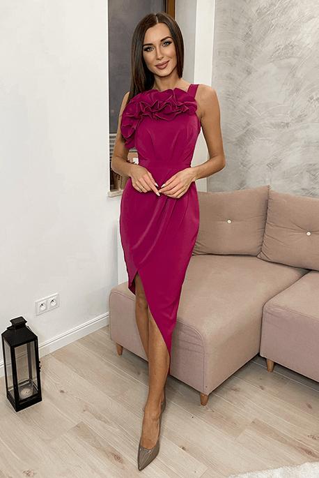Sukienka dla druhny z falbanką