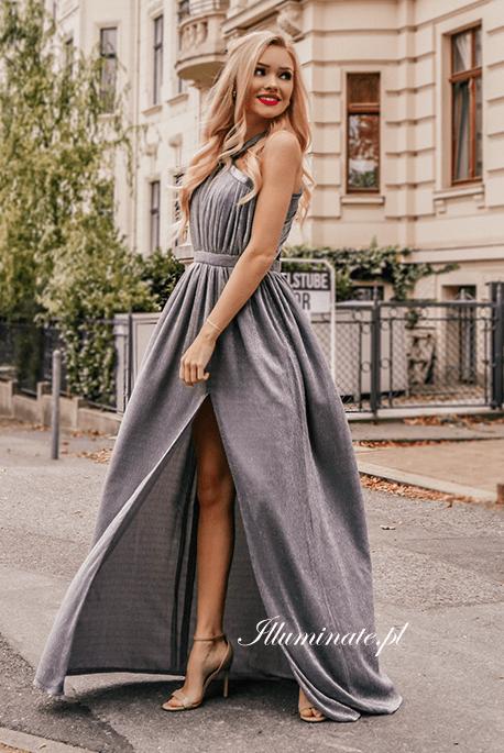 Ingi szara długa sukienka