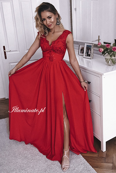 julia czerwona dluga sukienka