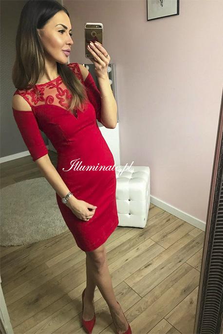 Khloe czerwona olowkowa sukienka