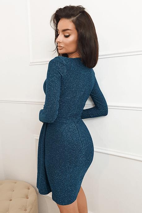 Niebieska wieczorowa sukienka z wiskozy