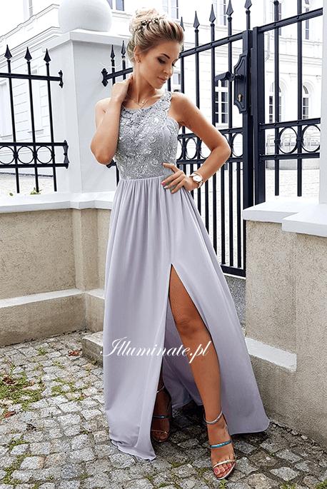 Lily długa szara sukienka