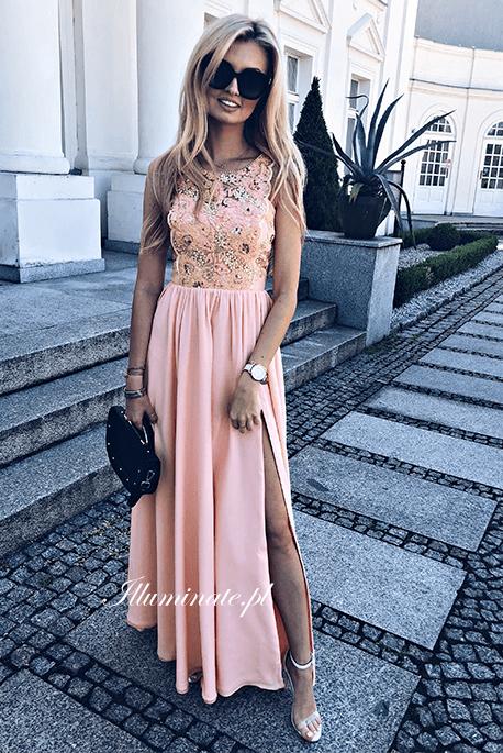 Laura długa morelowa sukienka