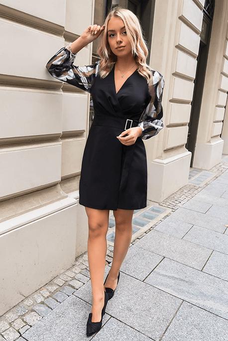 Meredith czarna klasyczna sukienka wieczorowa