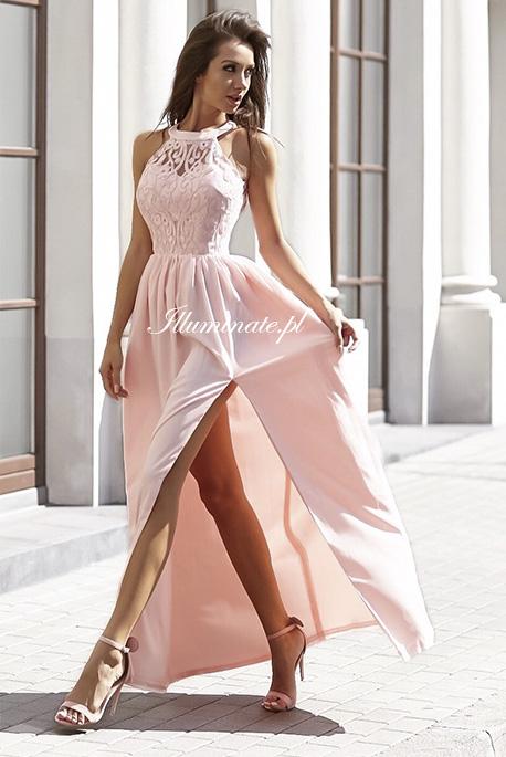 olivia sukienka pudrowy roz