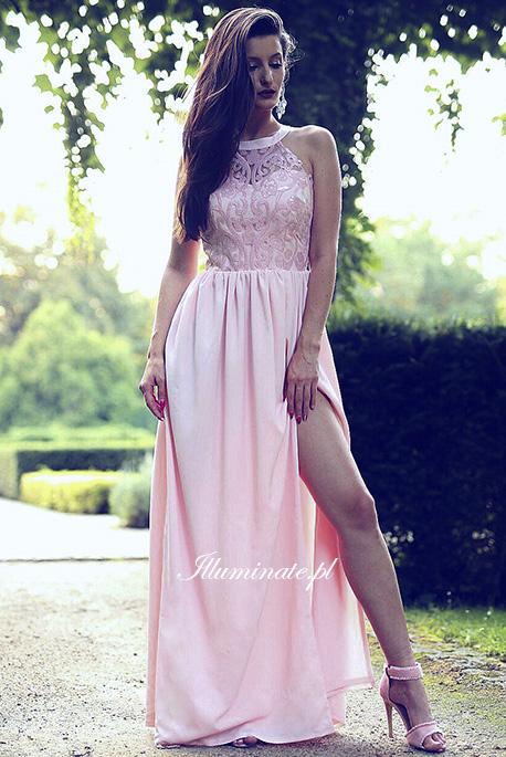 Olivia pudrowy roz sukienka