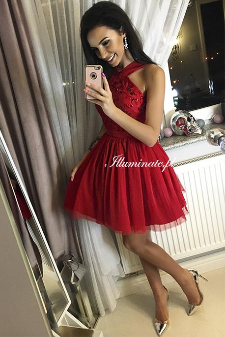Paris czerwona tiulowa sukienka