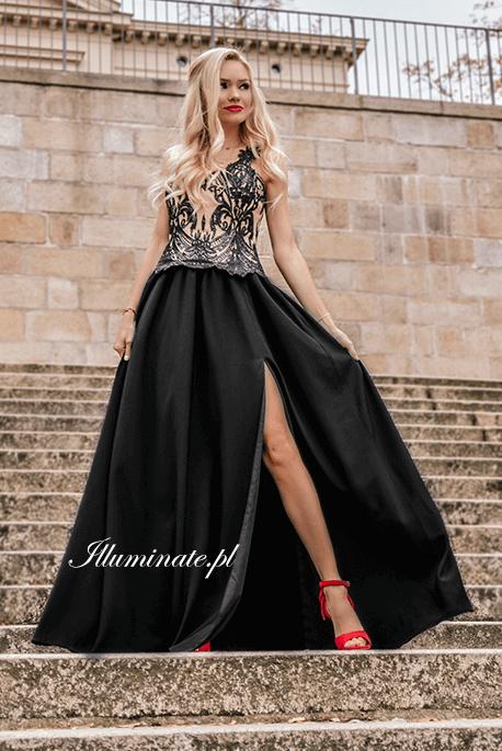 Salma, długa czarna sukienka na sylwestra