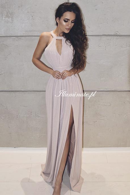 Shiny nude sukienka