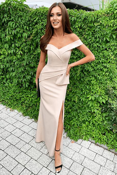 Sharon beżowa długa sukienka na wesele