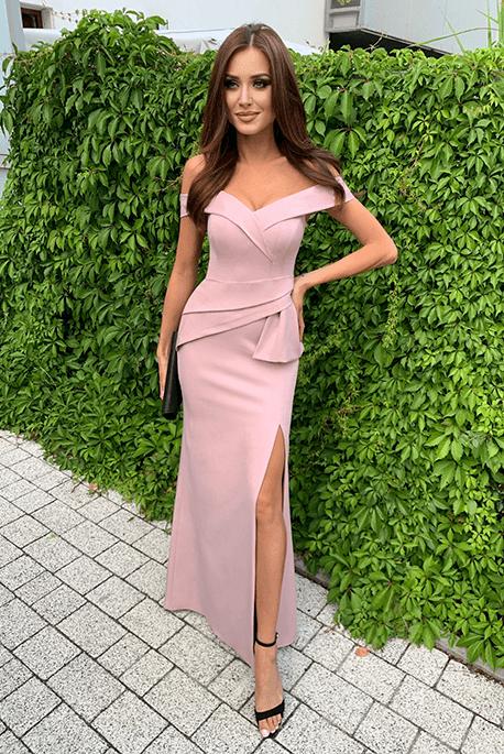 Sharon zgaszony róż długa sukienka na wesele