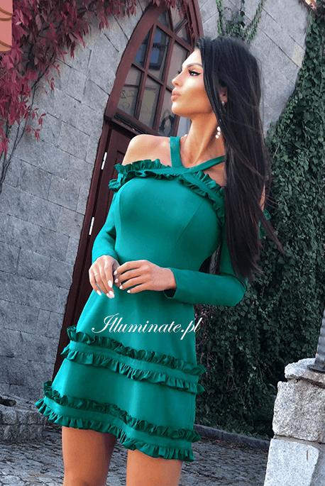 Shila butelkowa zieleń sukienka z długim rękawem