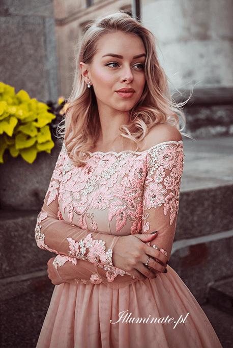 Vivian karmelowa tiulowa sukienka