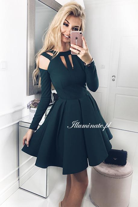 Zaira zielona rozkloszowana sukienka