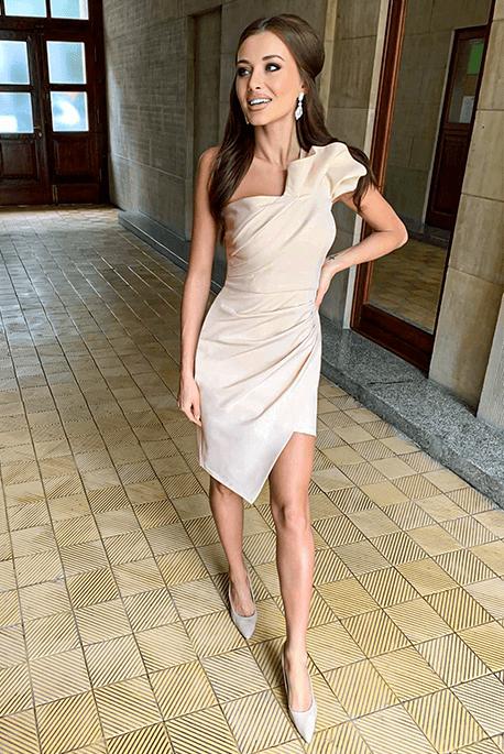 ZOE beżowa sukienka na wesele