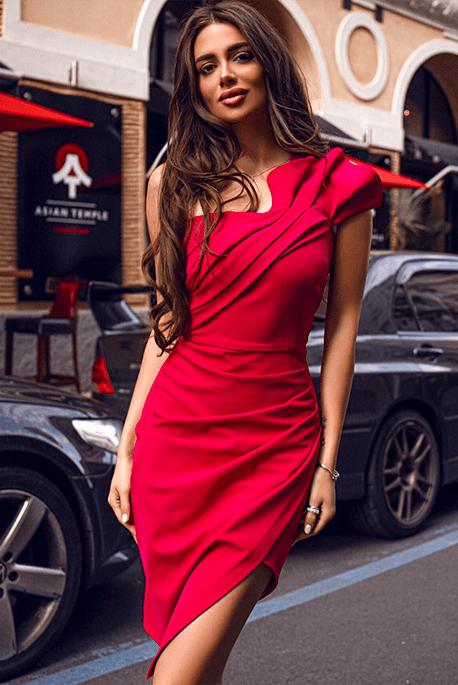 ZOE czerwona sukienka na wesele