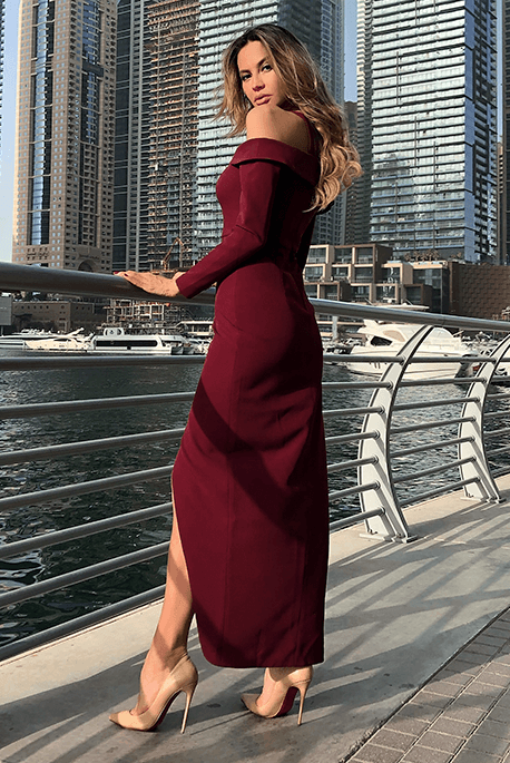 Zoya długa bordowa sukienka elegancka