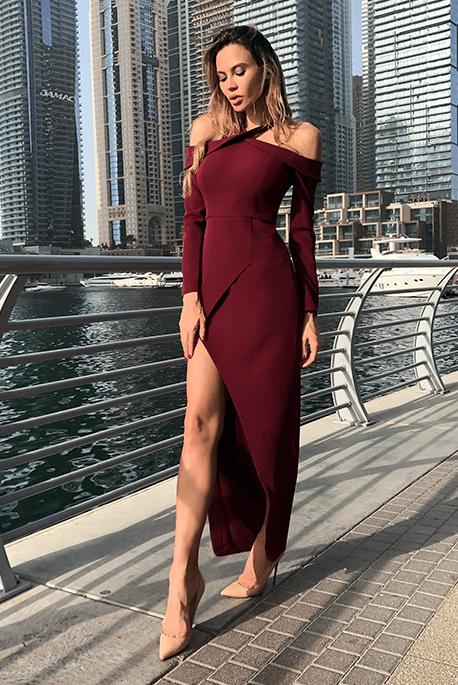 Zoya długa bordowa sukienka wieczorowa