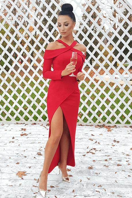 Zoya długa czerwona sukienka Illuminate