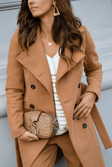 Ocieplany jesienny płaszcz camelowy