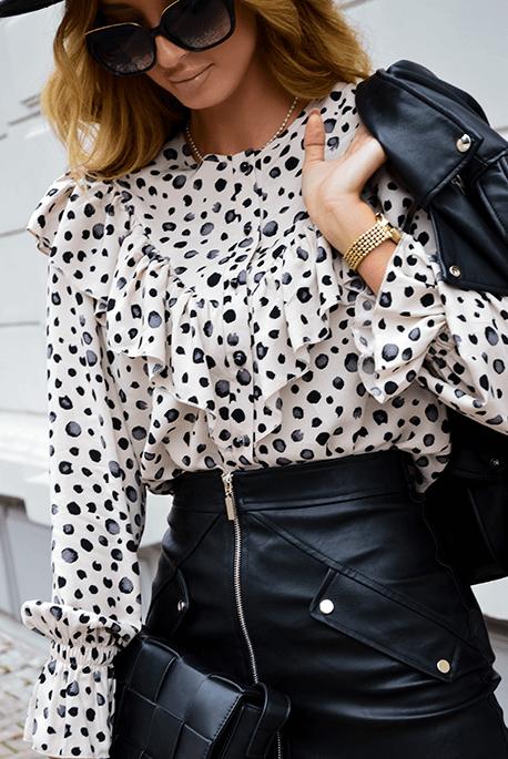 Elegancka jesienna koszula ecru w cętki
